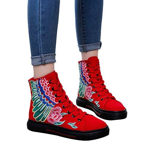 OSYARD Damen Schnürstiefelett Kurze Booties Stiefeletten Vintage Frauen Freizeit Bestickte Shoes...