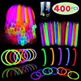 Glow Sticks Bulk 400 8' Glowsticks (Total 800 Pcs 7 Colors); Glow Stick Bracelets; Glow Necklaces; Glow in the Dark, July 4th, Christmas, Halloween Party Supplies Pack, Football Party Supplies