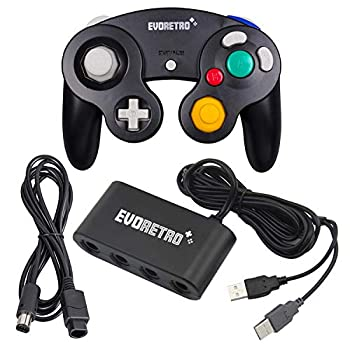EVORETRO Black Controller and Adapter and for Gamecube compatible for Nintendo Switch – Ideal Bundle for Smash Bros Compatible also for PC Wii and Wii U