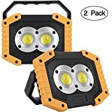 2-Pack Rechargeable Work Light COB 20W 1000LM, Waterproof LED Portable Flood Light