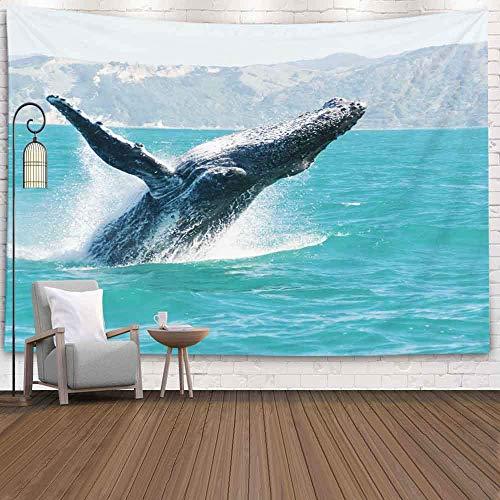 Tapiz de pared de Navidad, tapiz de feliz Navidad Ballena jorobada jugando en el agua Barco de observación de ballenas capturadas Gigante marino Su ruta Nueva Australia es tapiz de paisaje navideño