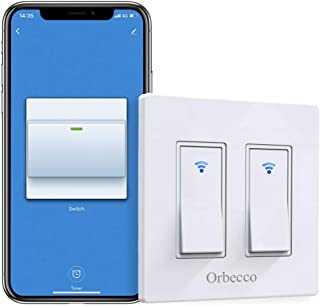 Orbecco in-Wall Smart Switch 2 Gang, Wi-Fi Smart Double Switch Compatible with Alexa, Google Home & IFTTT, App Remote Control, Neutral Wire Required, Easy Installation, Fit iOS Android Phones, White