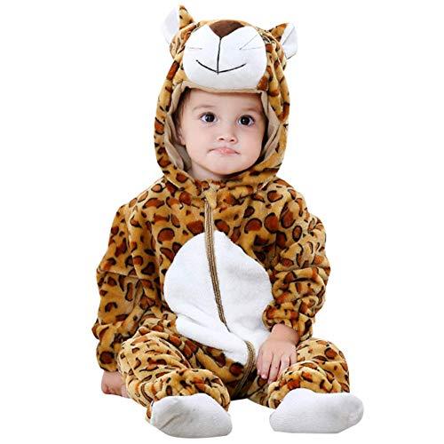 Unisexo Bebé Pelele Recién Nacido Franela Monos Traje Animales Disfraz Infantil Mameluco Invierno Ropa Niños Niñas Pijama (Leopard,80cm)