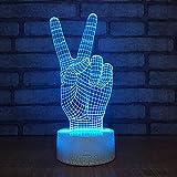 LWJZQT 3d nachtlicht Victory Geste 3D Kleine Led Tischlampe Dekorative Kreative Geburtstagsgeschenke Nachttischlampe Schlafzimmer Schreibtischlampe