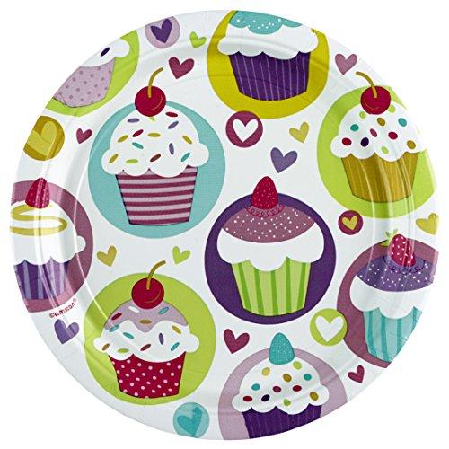 Assiettes en carton cupcake plats de fête muffin 8 pcs , D18 cm Vaisselle en carton motif cupcake petit gâteau assiettes jetables décoration de table pour fête enfant accessoire de déco anniversaire de petit