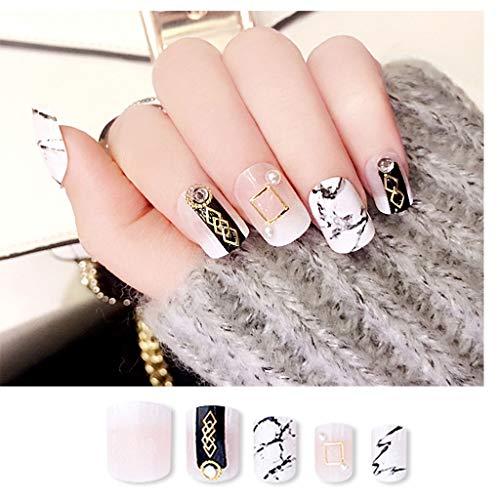 JIN HUA-fake nails Tragbarer Nägel, rechteckig Weiß Kopf Marmor Muster Metall Perlen Dekoration Herausnehmbare Nagelprodukte 24 Stück (Color : K)