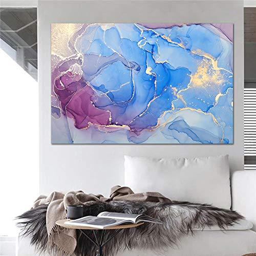 XIANGPEIFBH Cuadros de Arte de Pared Nube Colorida con decoración de sofá de habitación Dorada Pintura en Lienzo Decoración del hogar Obra de Arte Impresión en Lienzo 50x70cm (20'x28) Sin Marco