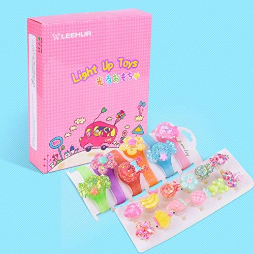 LEEHUR - 12 juguetes luminosos para niños + 6 pulseras luminosas LED brillantes juguetes para jugar caramelos intermitentes mini juguete juguete para sorpresa bonito regalo para niñas