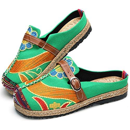 gracosy Alpargatas Zapatos de Mujer Caminando Zapatillas Plano de Holgazán Sandalias de Verano de Playa Transpirables Bordados de Flores Coloridas Jardín de Ocio al Aire Libre Zapatillas de casa