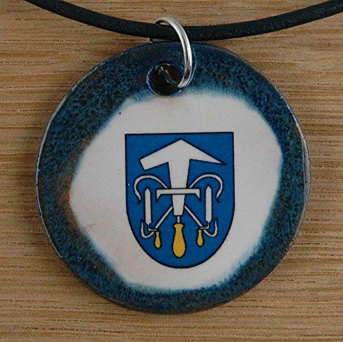 Echtes Kunsthandwerk: Hübscher Keramik Anhänger mit dem Zunftzeichen Dachdecker; Wappen, Handwerk, Zunft