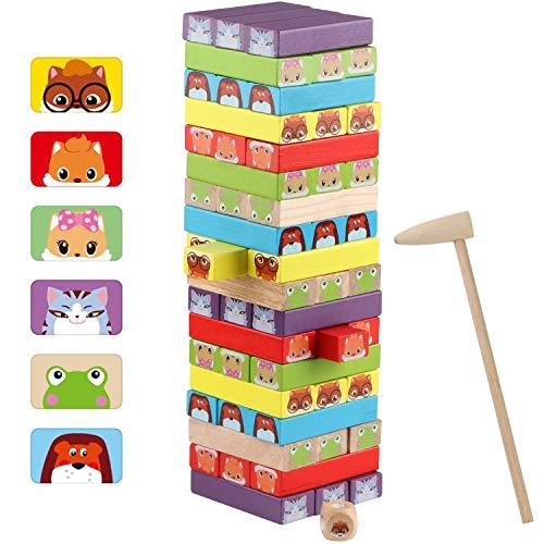 Jacootoys Juguete de Torre de Bloques de Madera Animales 3 en 1, 54 Piezas Juego de Mesa Educativo para Niños Niñas