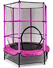 Klarfit Rocketkid Trampoline, tuintrampoline, outdoor trampoline, 140 cm diameter, afsluitbaar veiligheidsnet, bungeestouw-vering, tot max. 50 kg belastbaar