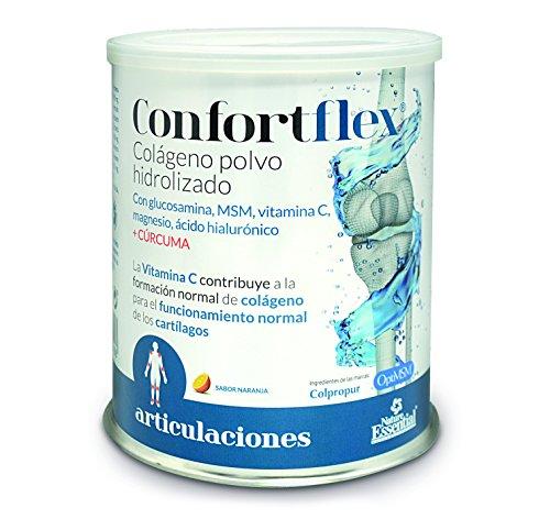 Confortflex® colágeno polvo hidrolizado con, magnesio, glucosamina, MSM, silicio, vitamina C, zinc, ácido hialurónico, vitamina B-3, vitaminaB-5, vitamina B-6 y cúrcuma– 390 gramos, 30 días.