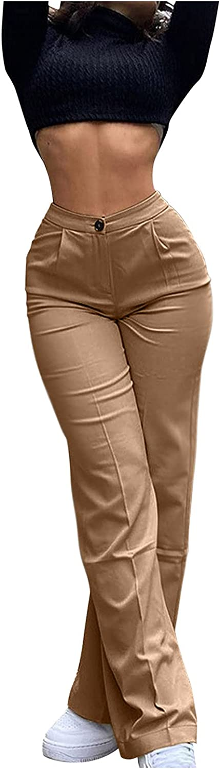 UBST Women High Waist Casual Wide Leg Long Palazzo Pants Trousers Fashion Solid Color Bootcut Business Work Pants
