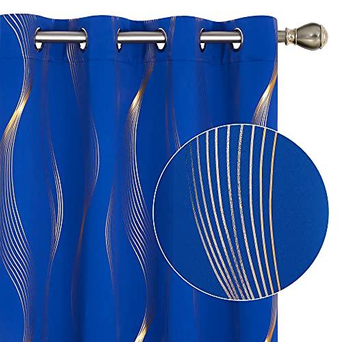 Deconovo Cortinas Opacas de Diseño Moderna Líneas Onduladas Estampadas Doradas para Habitación de Niño Niña 2 Piezas con Ollaos 117x138cm Azul Oscuro