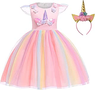 Baby Girls Rainbow Unicorn Tutu Dress Princess Fancy Dress Birthday Pageant Party Dresses Girls Christmas Halloween Pony D...
