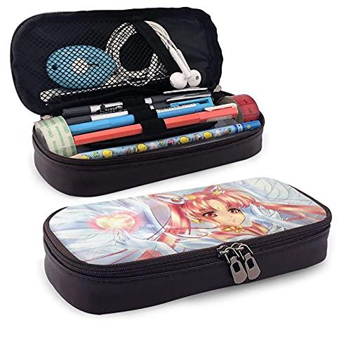 Estuche de cuero para lápices, caja de almacenamiento con cremallera para suministros escolares, oficina