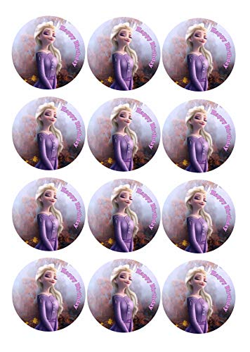 12 Muffinaufleger ca. 6 cm zum selbst ausscheiden, Cupcakes Muffinsbild Geburtstag Frozen Die Eiskönigin Fondant 0239m
