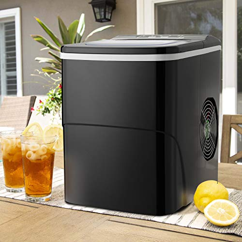 Antartic Star Countertop Portable Ice Maker Machine, 9 Ice Cubes Ready in 8 Minutes,Makes 26 lbs of Ice per 24 hours,with LCD Display, Ice Scoop and Basket Perfect for Parties Mixed Drinks(Black)