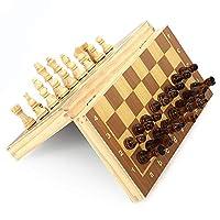 チェスセット、チェスセット折りたたみ式木製チェス-手作りの木製屋内ファミリーボードゲーム、磁気チェス付きの 手作り木製チェスの駒(レジャーパズルファミリーエンターテインメント)