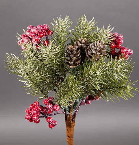 Seidenblumen Roß Geeister Tannenbund mit Beeren und Zapfen 25cm JA künstliche Tanne Bund aus Tannenzweigen