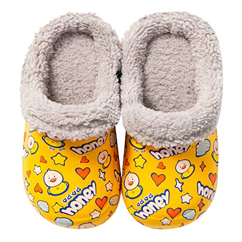 Meidiastra Kids Girls Boys Lining Clogs Shoes Garden Shoes Cartoon Comfort Faux Fur Lined House Bedroom Slippers Lightweight Winter Warm Slip On Yarn Clog Non-Slip Waterproof Slippers Yellow Duck 20