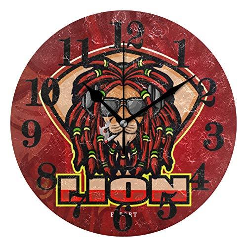 FVFV Roca Rey Tribu León Reloj de Pared Redondo Moderno Reloj de Cuarzo Silencioso con Batería No-Ticking para Sala Oficina