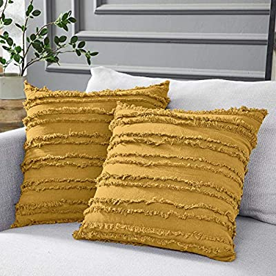 Longhui bedding Mustard Yellow Cotton Linen Throw Pillow Covers for Couch Sofa Bed, Decorative Throws Cushion Covers, 20 x 20 inches, Set of 2