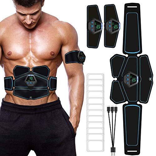 ITEYAO Elettrostimolatore per Addominali Elettrostimolatore Muscolare Professionale Stimolatore con USB Ricaricabile, 12 Pezzi Gel di Ricambio (6 Pacco)