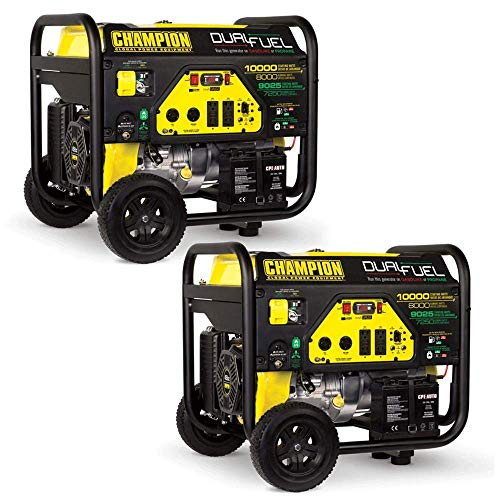 CHAMPION POWER EQUIPMENT 8000 Watt Portable Electric Start RV Ready Dual Fuel Generator (2 Pack)