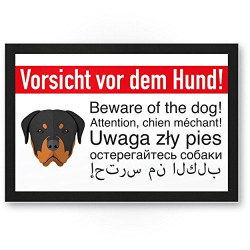 Rottweiler enseigne, Vorsicht avant le chien – chien, plaque signalétique multilingue – Plaque de Porte Porte, protection anti-vol – Env. Respect chien