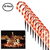 "Christmas Pathway Lights, 10 Sets Candy Cane Lights 15"" Tall Pre-Lit with 5 Tungsten Bulbs Per Candy Cane Light Decor Outdoor Christmas Candy Cane Pathway Markers Decorations Candy Cane Pathway Lights"