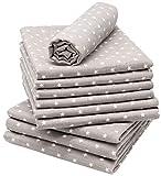 Zollner 10 muselinas para bebé 100% algodón, 80x80 cm, gris con estrellas