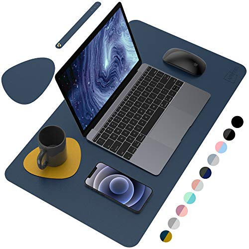 AFRITEE Desk Pad Desk Protector Mat - Dual Side PU Leather Desk Mat Large Mouse Pad, Writing Mat Waterproof Desk Cover Organizers Office Home Table Gaming Decor (Navy Blue/Yellow, 23.6' x 13.8')