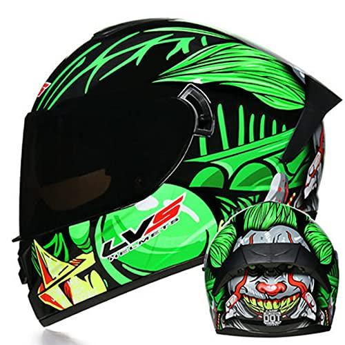 Casco de motocicleta de cara completa unisex para adultos Hombres Mujeres Forro extraíble aprobado ECE Moto de motor Casco de motocross de doble visor Moto Cascos,1,S 55~56cm