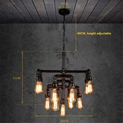 Chandelier Ceiling Light Steampunk Loft 13 Heads Black Wrought Iron Water Pipe Pendant Lighting E2720.4 Inch for Living Room Bar Restaurants Coffee Shop Club #3