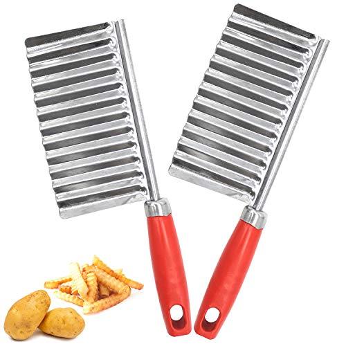 NC56 2 Stück Wellenschneider,Kartoffelschneider Edelstahl,für Pommes Frites Küchenwerkzeug