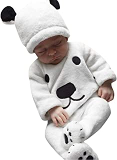 LNGRY Baby Clothes,Toddler Infant Girls Boys 3Pcs Winter Warm Fluffy Bear Tops+Footie Pants+Hat Outfits