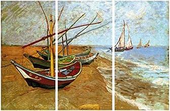 1art1 Vincent Van Gogh - Barcas De Pesca En La Playa De Saintes-Maries, 1888, 3 Partes Cuadro, Lienzo Montado sobre Bastidor (180 x 120cm)