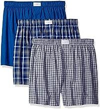 Tommy Hilfiger Men's Underwear 3 Pack Cotton Classics Woven Boxers, Blue Plaid/Solid Blue/Navy Plaid, X-Large