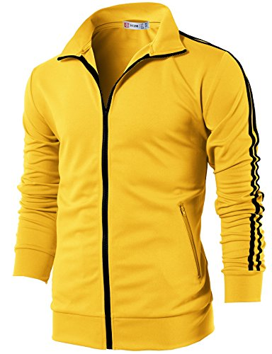 H2H Mens Active Slim Fit Lightweight Line Training Full Zip-up Jacket Yellow US M/Asia L (CMOJA0103)