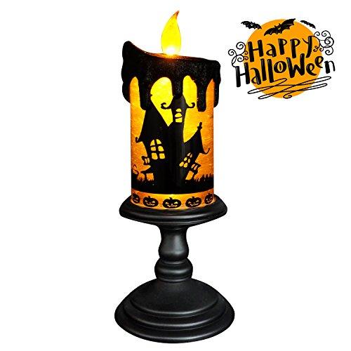 Eldnacele Weihnachten LED Kerzenlichter, Bat Design beleuchtete Schneekugel, batteriebetriebene flammenlose Deko-Kerzen für Weihnachtsdekoration, Bat Orange