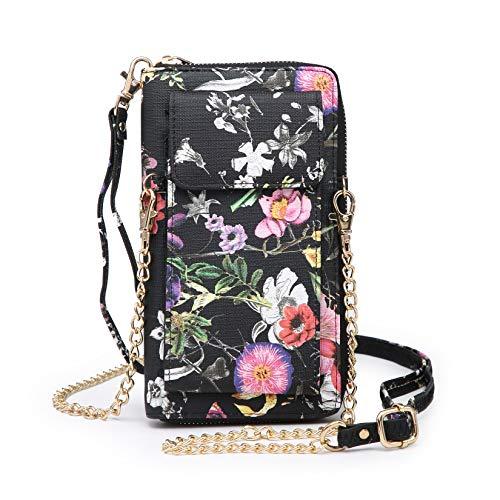 Kleine Umhängetasche für Damen mit Handgelenk, Handtasche für Smartphone, Clutch., Schwarz (Schwarze Blume), Small