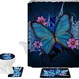 Coloranimal Juego de accesorios de baño de 16 piezas, cortina de ducha de poliéster con estampado de mariposas, alfombra de baño antideslizante, alfombrilla de contorno y tapa de inodoro