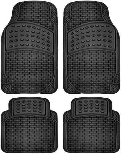 OxGord 4pc Rubber Floor Mats Universal Fit Front Driver Passenger Seat for Car SUV Van and Truck -...