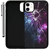 """Custom Case Compatible with iPhone 11 (6.1"""") (Cracked Screen Prank) Edge-to-Edge Rubber Black Cover Ultra Slim 