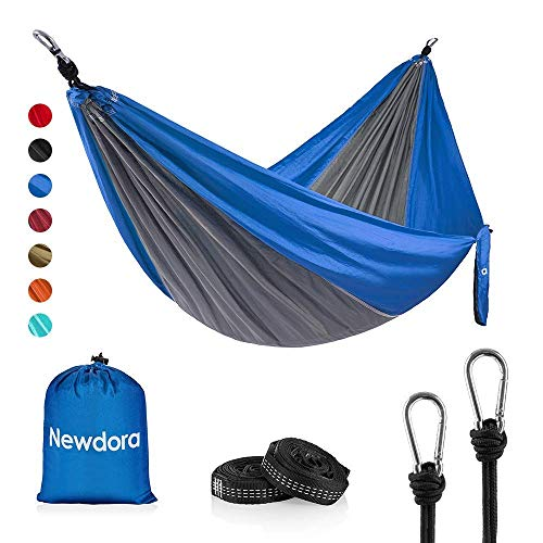 Newdora Hängematte Tragbar Haengematte Tuchhängematte(270 x 140 cm belastbar bis 300 kg für Backpacker Camping Jagen Strand Hof(Grau/Blau)