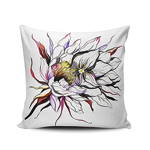 Romance-and-Beauty Blanc Cactus Reine de la Nuit Taie d'oreiller Canapé à la Maison Décorative 18 X 18 Pouces Carrés Jeter taie d'Oreiller, Housses de Coussin Décor