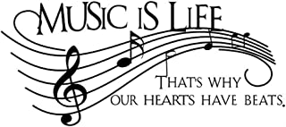 Home Find Musical Notes Wall Decals Music is Life That's Why Our Hearts Have Beats Stickers for Kids Bedroom Music Room Dance Room Vinyl Art Decor House Decorations (Black 51.1 inches x 22 inches)
