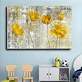Cuadro de lienzo de flores amarillas abstractas imágenes artísticas de pared para decoración de sala de estar estilo nórdico cuadro decorativo moderno para el hogar-(amarillo70x100cm sin marco)